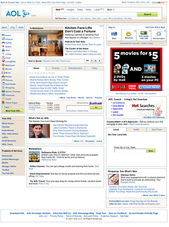 screenshot: AOL homepage that copies Yahoo
