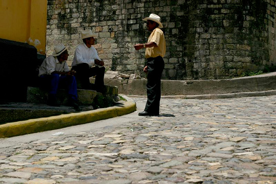 men on the corner - Copan, Honduras