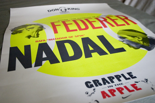 poster: Grapple in the Apple, Federer vs. Nadal