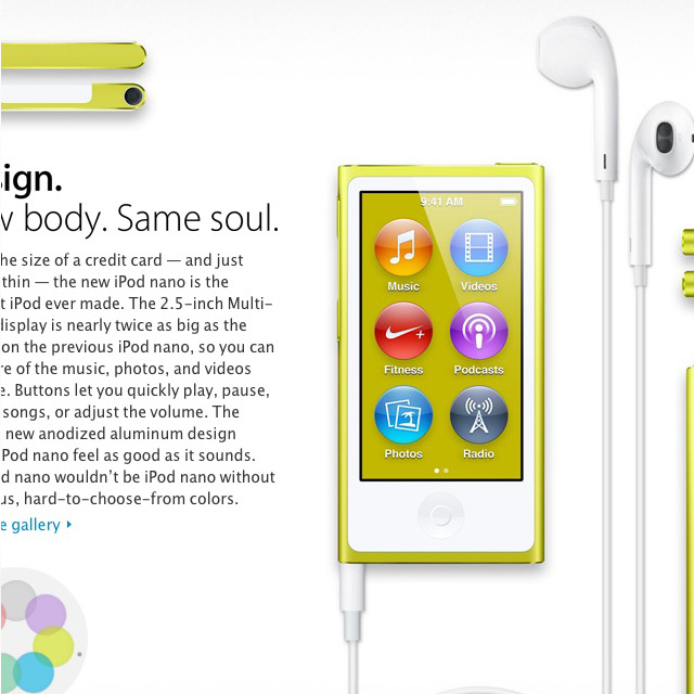 iPod Nano 2012 yellow