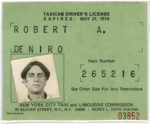 Robert Deniro taxi license